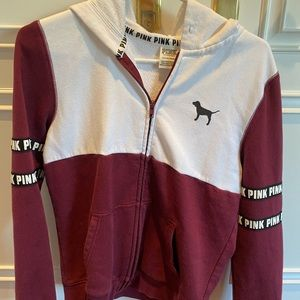 PINK maroon and white small zip-up sweatshirt